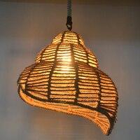 Ретро Промышленность пеньковая Подвесная лампа веревка железные подвесные светильники индивидуальное Ретро освещение для магазина одежд