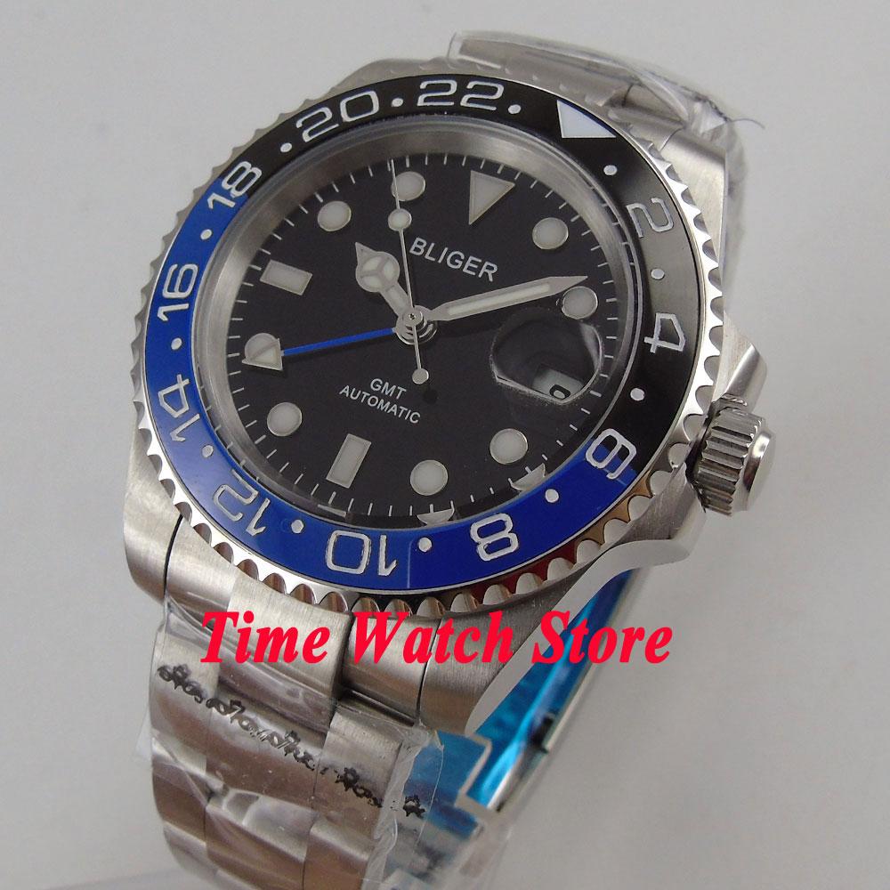 все цены на 40mm Bliger sapphire glass black dial ceramic bezel date window GMT Automatic movement Men's watch 175 онлайн