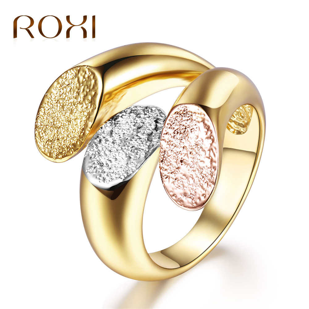ROXI Charm Personalized Anillos Gold Color Cocktail Party Wide Rings for Women three Colors Female Size Rings Jewelry bague 2018