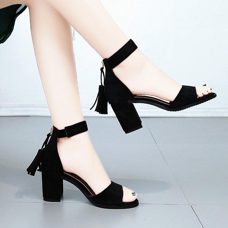 Tassel High Heels Ladies Sandals Women Sandals Female Summer Shoes Zipper Flock Solid New Block Heel Shoes Woman Sexy Sandals