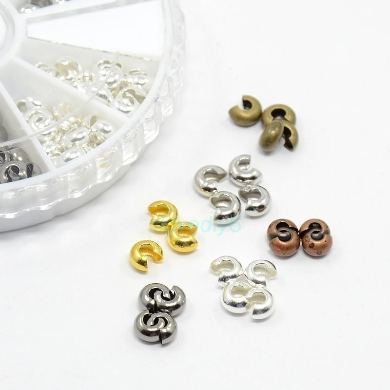 Blesiya 5pcs Silver Copper Round Bail Beads DIY Jewellery Connector Findings
