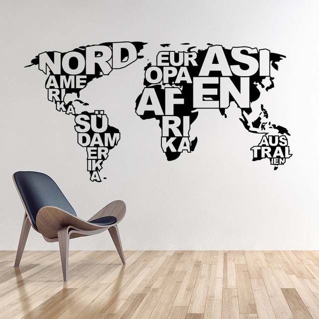 Art design world map vinyl wall sticker home decoration map wall decals removable diy house decor