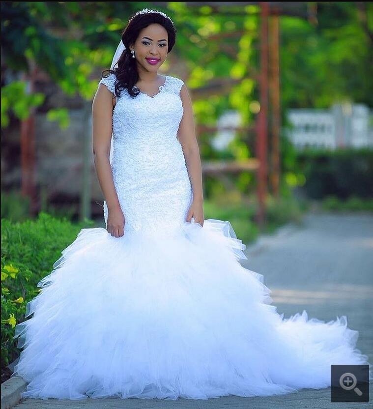 2017 fantaisie nouveau design sirène dentelle appliques à volants robe de mariée cap manches perles paillettes africain arabe robe de mariée en vente