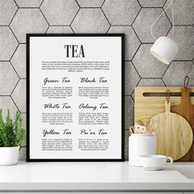 Tea Kitchen Wall Art Canvas Poster Prints Minimalist Tea Sign Quote Art Painting Black White Pictures Tea Lover Gift Home Decor(China)