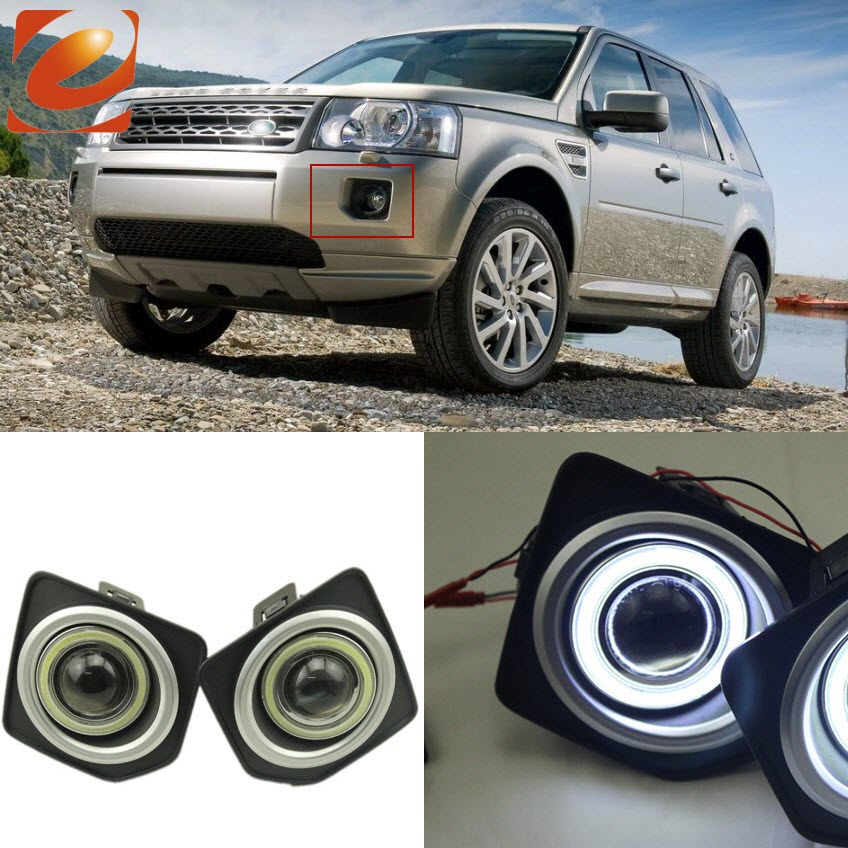 eeMrke COB Angel Eyes DRL For Land Rover Freelander 2 L359 30W Bulbs LED Fog Lights Daytime Running Lights Tagfahrlicht Kits ostin gl1r46 x1