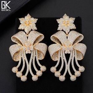 Image 4 - Godki 72mm na moda luxo bowknot borlas nigeriano longo balançar brincos para o casamento feminino zircônia cz dubai dubai bicolor brinco
