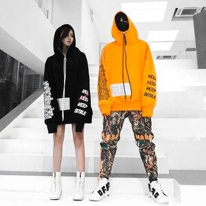Image 4 - Automne 2018 nouveau Zipper lettre impression Hoodis pour hommes et femmes surdimensionné coton lâche mode pull Sweatshirts porter Couple