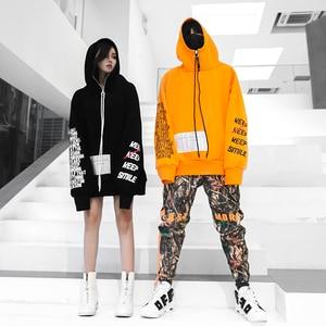 Image 4 - Outono 2018 nova carta com zíper impressão hoodis para homens e mulheres oversize algodão solto moda pulôver sweatshirts wear casal