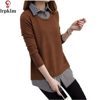 2017 Women Sweater Turn Down Collar Long Sleeve Patchwork Shirt Loose Knitted Pullover Fashion Female Top