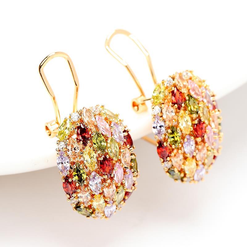 LUOTEEMI, модные женские серьги-гвоздики в форме яйца цвета шампанского золотого цвета с разноцветным циркониевым камнем для девочек, ювелирные изделия на день рождения