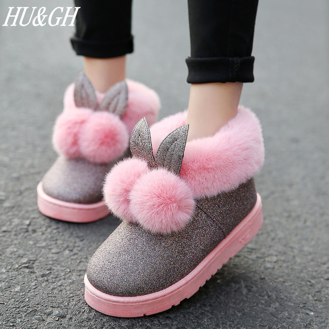 2018 Winter Women s boots female Venonat rabbit ear lovely boots waterproof  and velvet with thick warm cotton shoes U Style f1faba705f80