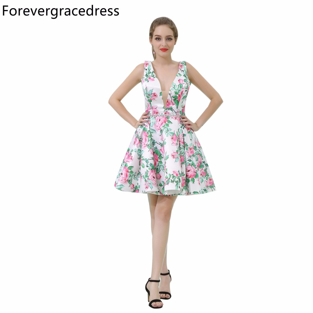 Forevergracedress Real Pictures   Cocktail     Dress   V Neck Short Backless Homecoming Party Gown Plus Size Custom Made
