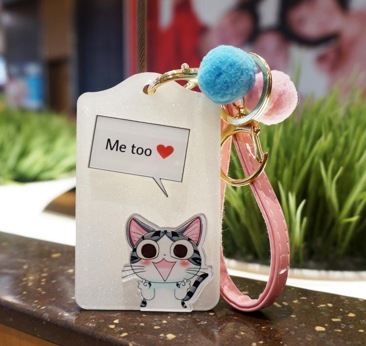 Cartoon Cat Bus Card Rigid Acrylic Key Chain Entrance Card  Card Sets