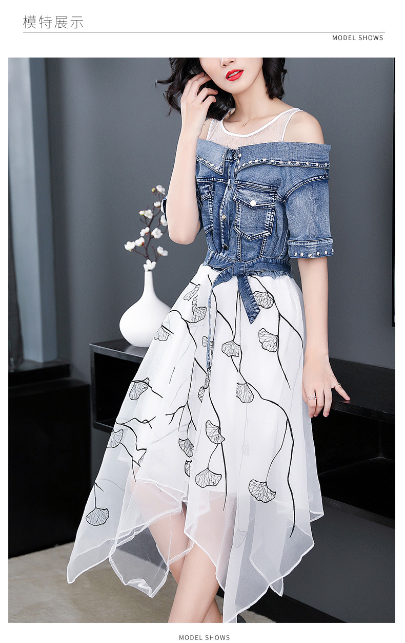 Ladies fashion 18 summer dress women elegant sweet slim O-neck half sleeve irregular Printing organza stitching denim dresses 4