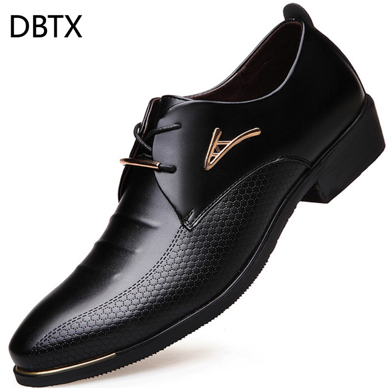 DBTX Men Dress Shoes Pointed Toe Lace Up Men'S Business Casual Shoes Formal Leather Oxford Shoes For Men Big Size 38-46 618 pjcmg new fashion luxury comfortable handmade genuine leather lace up pointed toe oxford business casual dress men oxford shoes
