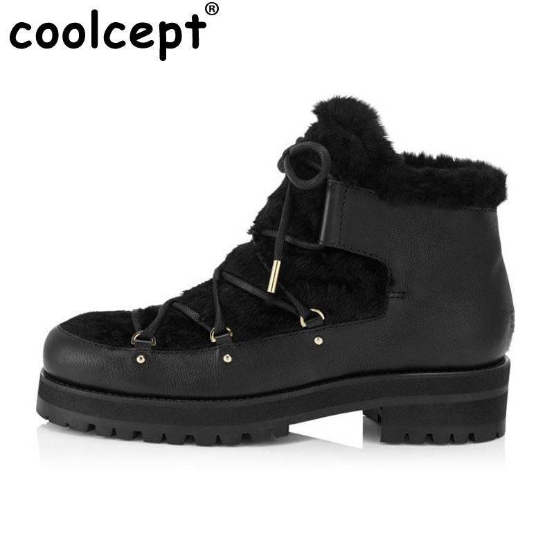 Women Platform Genuine Leather Ankle Boots Woman Square Heel Botas Ladies Lace Up Thickened Fur Casual Boot Size 33-41 justin bieber fear of god ankle boots 100% genuine leather kanye west boots men casual shoes fog platform botas knight boots