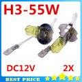 2 pçs/lote Lâmpadas H3 3000 K Xenon Halogênio H3 12 V 55 W Amarelo Dourado Fog Carro Preço de Fábrica Estacionamento Styling Frete Grátis