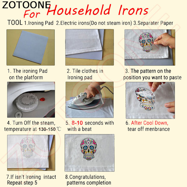 ZOTOONE Sea Wave Heat Transfer Vinyl Patches for Clothes T-shirt Dresses Washable Stickers Applique Iron-on Transfers DIY