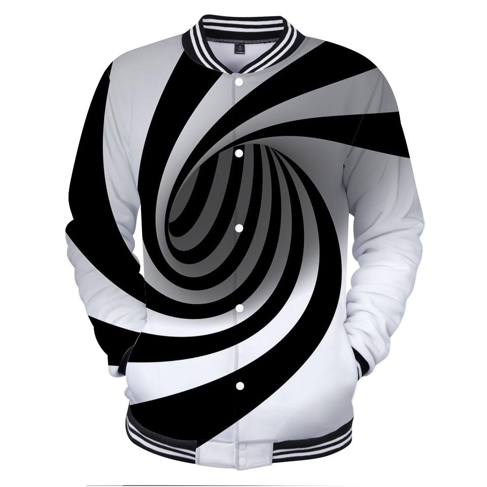 Frdun Tommy 3D Vertigo Hypnotic Strong Visual Effect Baseball Jackets Fashion Design Funny Hot Sale Autumn Splice Sleeves Jacket
