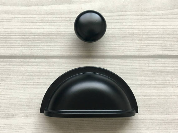 3 Retro Black Bowl Drawer Pull Dresser Pulls Knobs Handles Shell Cup Bin Classic Cabinet Knob Pulls Kitchen Vintage Style Handl retro bin drawer pull dresser knobs handles shell cup kitchen cabinet handles door handle black silver furniture hardware