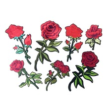 Embroidered Iron On Rose Patches For Clothing Flower Appliques Iron On Transfers Stickers For Garment DIY Sewing Badge For Jeans(China)