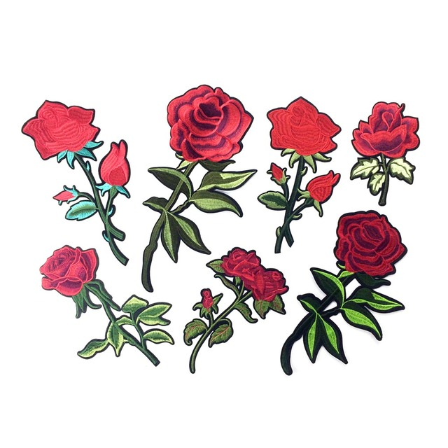 Embroidered Iron On Rose Patches For Clothing Flower