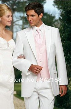 81d05132f042 Custom prom(white jacket pant/pink vest tie)italian mens western wedding  party