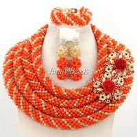 2015 Handmade Orange Crystal Women Necklaces Costume Jewellry Nigerian Wedding African Beads Jewelry Set Free Shipping AMJ433