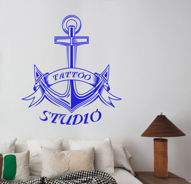 Anchor Wall Stickers Tattoo Studio Logo Vinyl Wall Decals Bedroom Decor  Salon Shop Window Wall Decor Nontoxic PVC Material ZB160