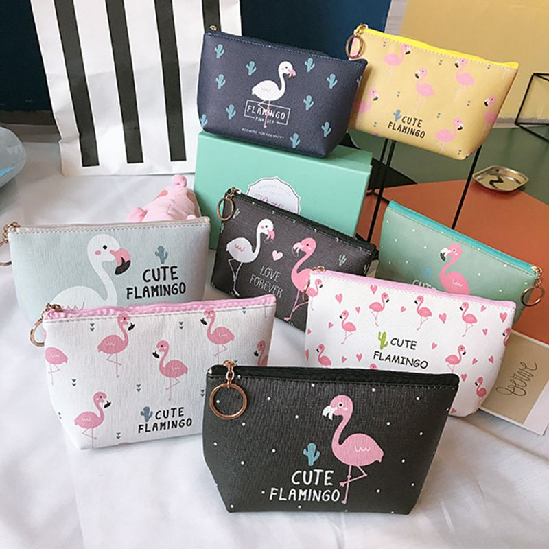 Fashion Flamingo Cosmetic Bag Women Cute Make Up Bag Travel Waterproof Portable  Storage Pouch Organizer Makeup Bag Toiletry Bag