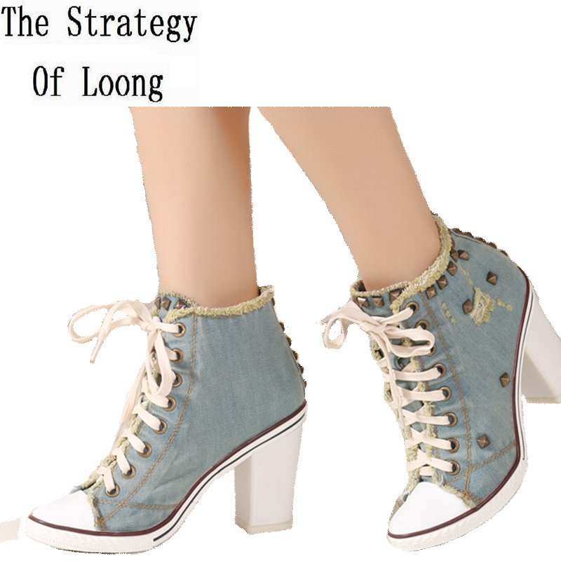 Europe America Style Women Autumn Winter Thick High Heel Rivets Lace Up Pointed Toe Fashion Casual Denim Shoes 34-40 SXQ0710 europe america style spring autumn women genuine leather thin high heel lace up low cut fashion denim shoes size 34 41 sxq0709