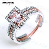 RSZY2048 Grade AAA CZ Diamond 100 925 Sterling Silver Jewellery Sparkling Engagement Two Tones Bridal Ring