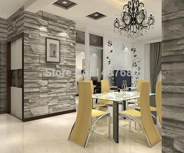 Chinesischen Stil Esszimmer 3D Tapete Stein Ziegel Design Hintergrund Wand  Vinyl Tapete Für Moderne Wohnzimmer Wandbespannung