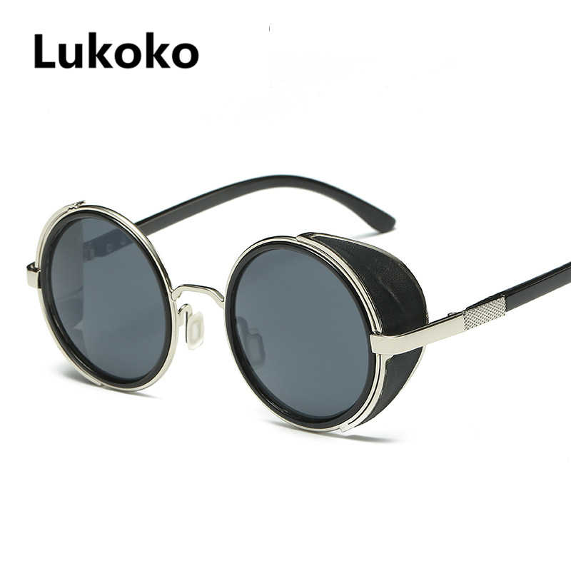 7628521090e Lukoko Fashion Steampunk Sunglasses Women Men Windproof Vintage Retro Round  Metal Sun Glasses UV400 Steam Punk