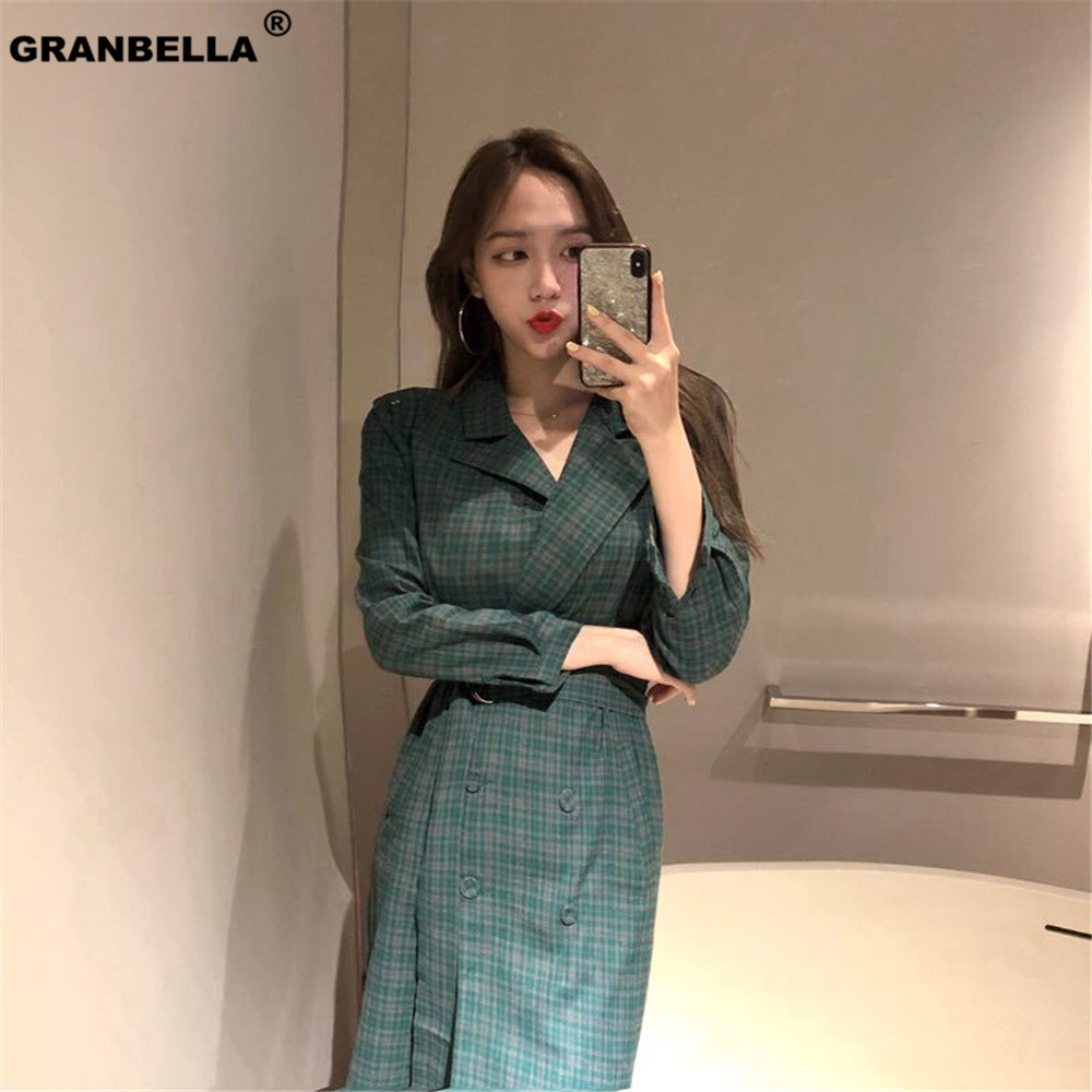 OL style vintage plaid elegant   trench   coat for business women sashes slim waist windbreaker coats manteau femme