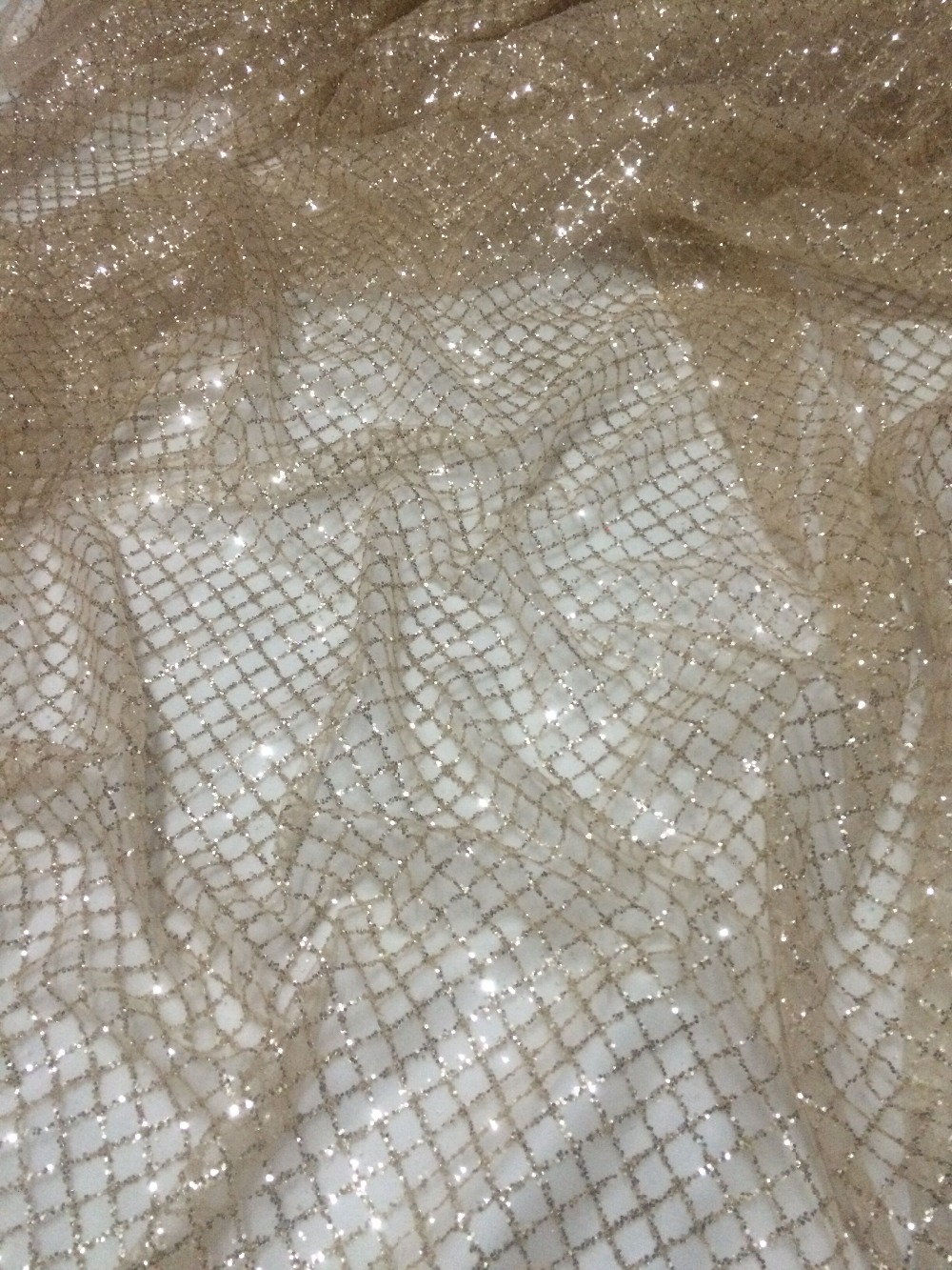 FREE SHIPPING by dhl CGL41059 gold French net lace fabric with glitter for wedding dress