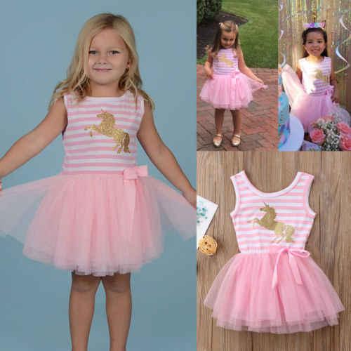 2018 Novo Vestido Rosa Meninas Doces Do Bebê Stirped Unicórnio Vestido Crianças Festa de Aniversário Da Princesa Crianças Tutu Lace Vestidos de Casamento Hot