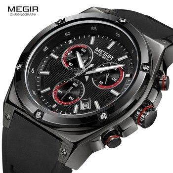 MEGIR Top Brand Luxury Chronograph Watch Men Quartz Sports Watches Army Military Silicone Strap Wrist Watch Male Black Clock