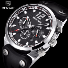 Business Men Watch BENYAR Top Brand New Silicone Strap Multifunction Chronograph Watch Casual Men Quartz Clock Relogio Masculino