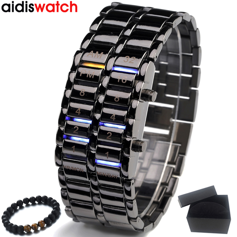 Electronic LED Display Luminous Watches Sports Watches Blue Binary