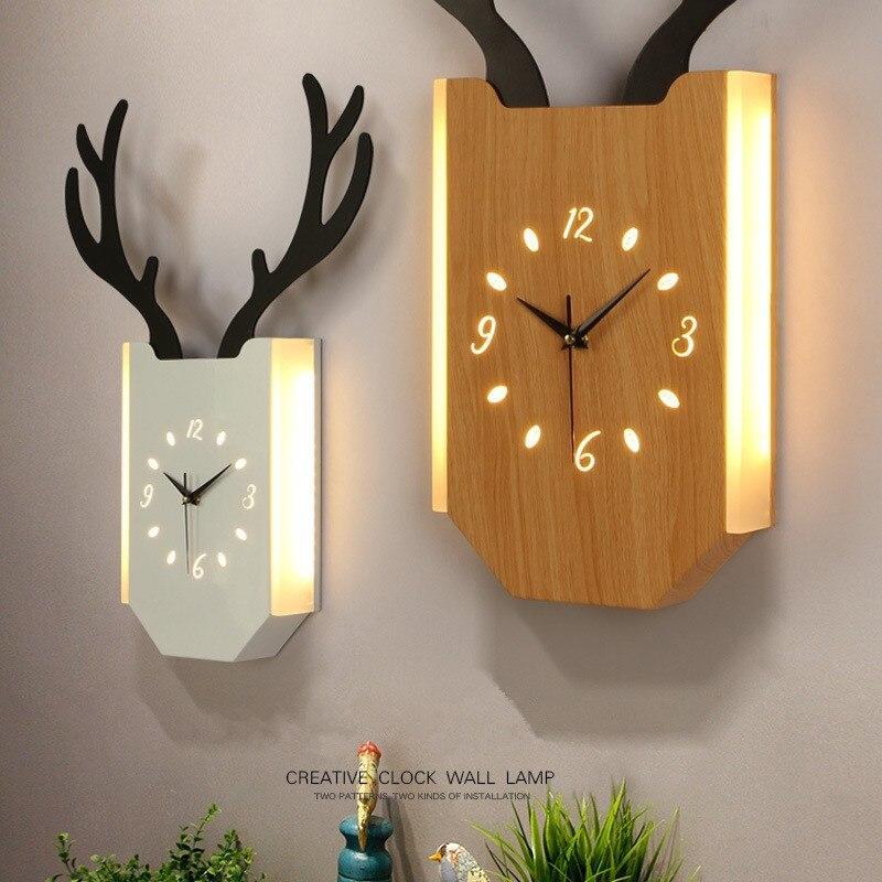 Mur LED lampe créative bois horloge lumières décoratives escaliers couloir salon étude chambre chevet veilleuse