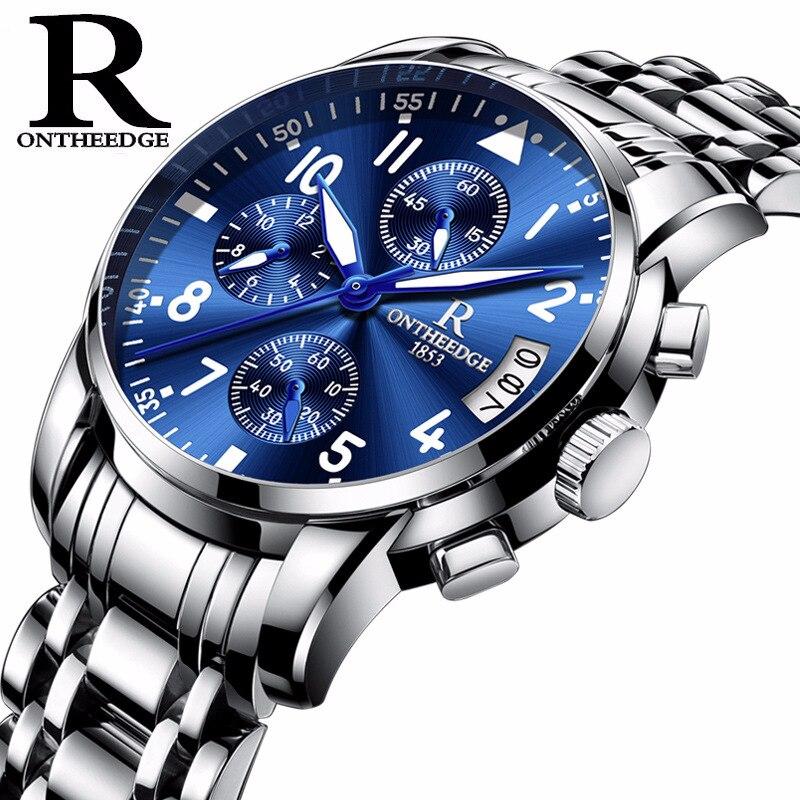 ONTHEEDGE Mens Watches Luxury Steel Brand Quartz Wrist Watches Luminous Hands Men Male Waterproof Sport Watch Relogio Masculino