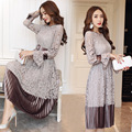 2017 European style lace hollow out long velvet women dress high quality fashion sexy ruffled long sleeve woman vestidos B672