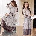 2017 estilo europeu lace oco out longo de veludo mulheres dress de alta qualidade da moda sexy babados manga longa mulher vestidos b672