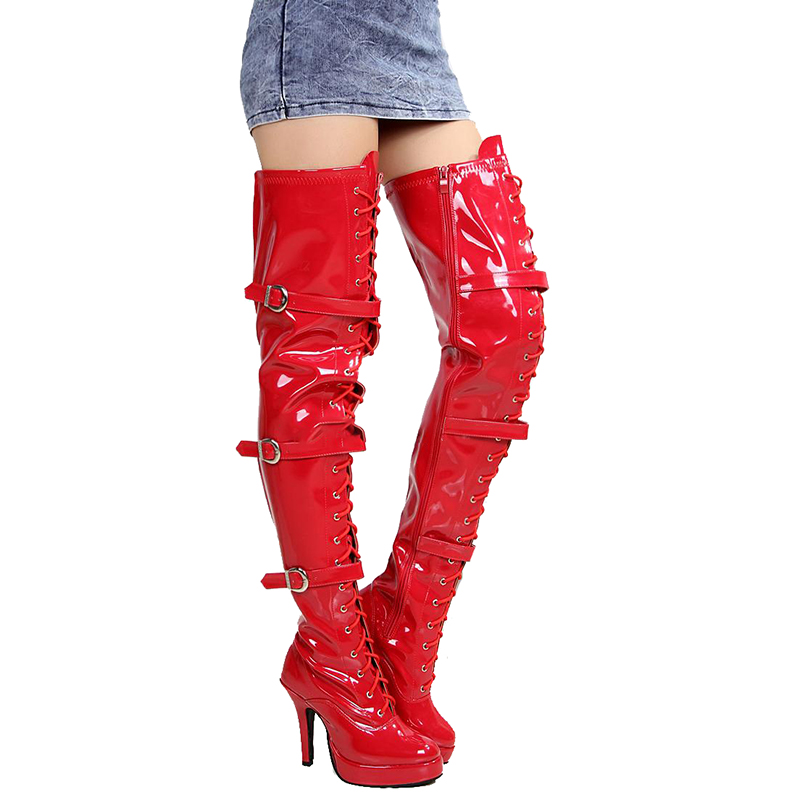 Platform Red Over Knee Boots High Heels Women Shoes Thigh Long Boots Fashion Fenty Beauty Boots Ladies Gothic Shoes Big Size 43Platform Red Over Knee Boots High Heels Women Shoes Thigh Long Boots Fashion Fenty Beauty Boots Ladies Gothic Shoes Big Size 43