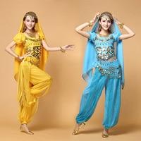 Top+Pants+Belt+Veil+Necklace+Earrings+Bracelet Women Sexy Belly Dance Costume Female Bollywood/Indian Dance Costumes Dancewear