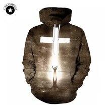 3D толстовки для мужчин и женщин, Повседневная 3d Толстовка с принтом молнии, толстовка с принтом Jesus Cross, толстовка в стиле хип-хоп, осенняя уличная одежда с капюшоном, пуловер