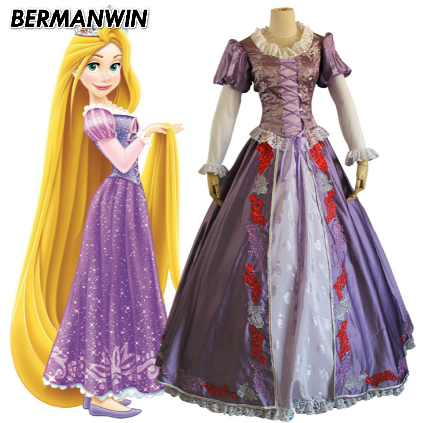 BERMANWIN High Quality Tangled Princess Rapunzel costume Adult Women Rapunzel dress Halloween Cosplay Costume