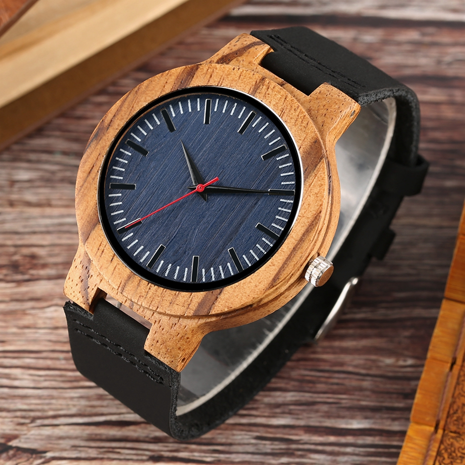 Retro Wood Watch Men Unique Navy Dial Bamboo Watches Black Leather Military Sports Clock Male Quartz Wrist Watch Reloj Hombre 2018 2019 (6)