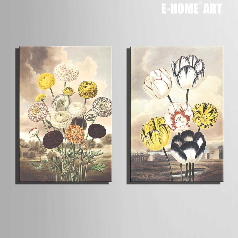 Free Shipping E-<font><b>HOME</b></font> Oil Painting <font><b>Elegant</b></font> Flowers Decoration Painting <font><b>Home</b></font> <font><b>Decor</b></font> On Canvas Modern Wall Prints Set Of 2